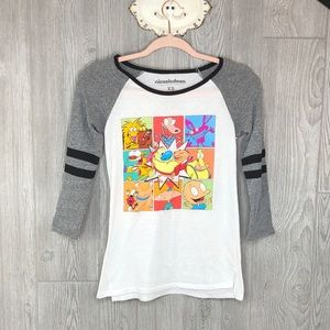 Nickelodeon 90's Cartoon Graphic Raglan Baseball T